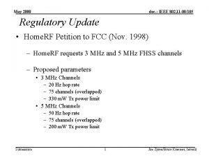May 2000 doc IEEE 802 11 00105 Regulatory