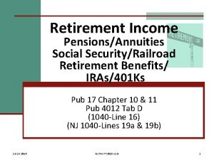 Retirement Income PensionsAnnuities Social SecurityRailroad Retirement Benefits IRAs401