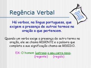 Regncia Verbal H verbos na lngua portuguesa que