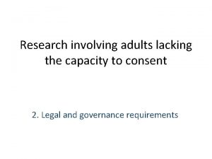 Research involving adults lacking the capacity to consent