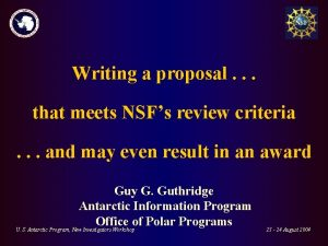 Writing a proposal that meets NSFs review criteria