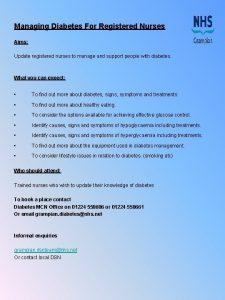 Managing Diabetes For Registered Nurses Aims Update registered