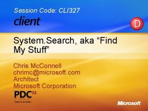 Session Code CLI 327 System Search aka Find
