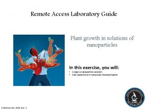 Remote Access Laboratory Guide Plant growth in solutions