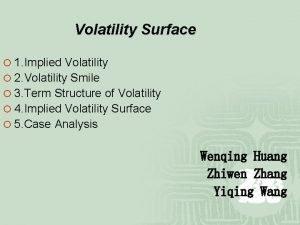 Volatility Surface 1 Implied Volatility 2 Volatility Smile