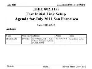 doc IEEE 802 11 11 09820 July 2011