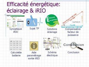 Efficacit nergtique clairage i RIO Synoptique i RIO