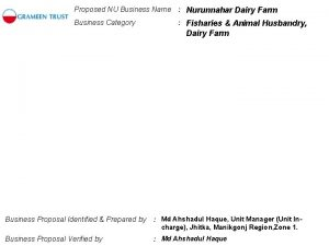 Proposed NU Business Name Nurunnahar Dairy Farm Business
