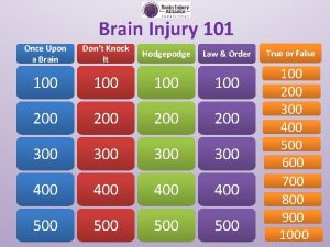 Brain Injury 101 Once Upon a Brain Dont