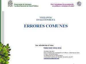 Universidad de Antioquia Facultad Nacional de Salud Pblica