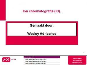 Ion chromatografie IC Gemaakt door Wesley Adriaanse 1
