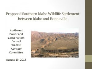 Proposed Southern Idaho Wildlife Settlement between Idaho and