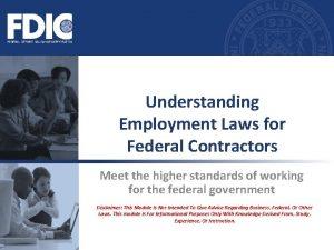 Understanding Employment Laws for Federal Contractors Meet the