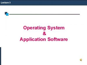 Lecture 3 Operating System Application Software OS Application