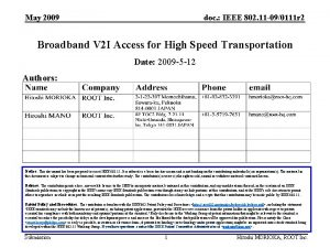May 2009 doc IEEE 802 11 090111 r