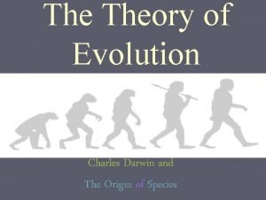 The Theory of Evolution Charles Darwin and The