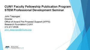 CUNY Faculty Fellowship Publication Program STEM Professional Development