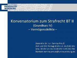 Konversatorium zum Strafrecht BT II Grundkurs IV Vermgensdelikte