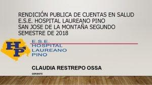 RENDICIN PUBLICA DE CUENTAS EN SALUD E S