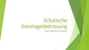 Schulische Ganztagesbetreuung an der Volksschule Steinbrunn Schulische Ganztagesbetreuung