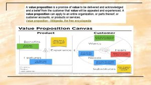 A value proposition is a promise of value