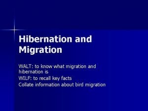 Hibernation and Migration WALT to know what migration