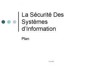 La Scurit Des Systmes dInformation Plan Copyright Plan