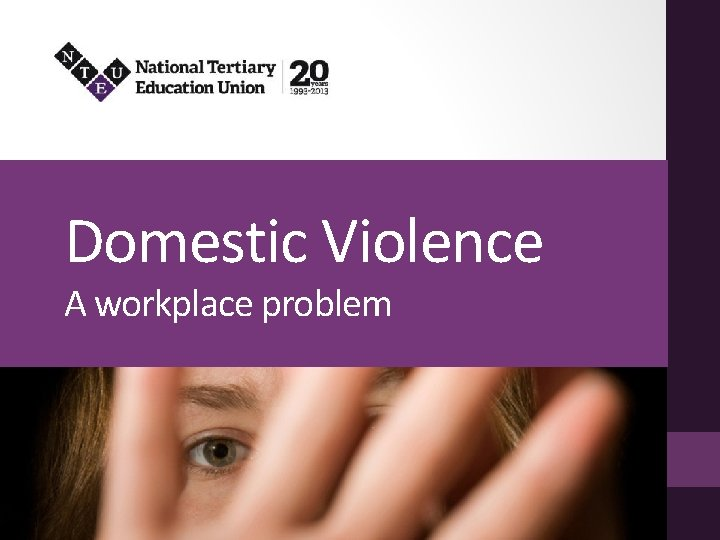 Domestic Violence A workplace problem What is domestic