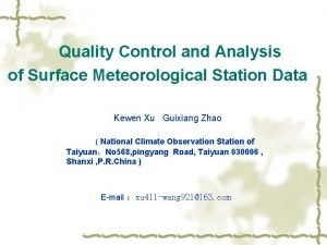 Quality Control and Analysis of Surface Meteorological Station