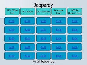 Jeopardy FFA What Is It FFA Basics FFA