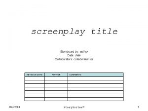 screenplay title Storyboard by author Date date Collaborators