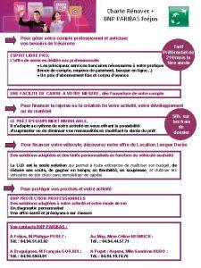 Charte Rnover BNP PARIBAS Frjus Pour grer votre