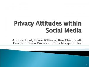 Privacy Attitudes within Social Media Andrew Boyd Kaven