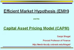 Efficient Market Hypothesis EMH and the Capital Asset
