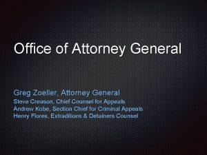 Office of Attorney General Greg Zoeller Attorney General