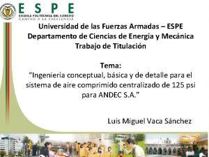 Universidad de las Fuerzas Armadas ESPE Departamento de