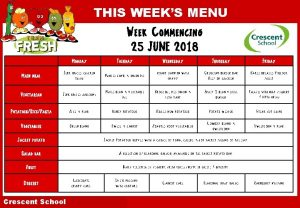 THIS WEEKS MENU Week Commencing 25 JUNE 2018