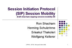 Session Initiation Protocol SIP Session Mobility draftshachamsippingsessionmobility00 Ron