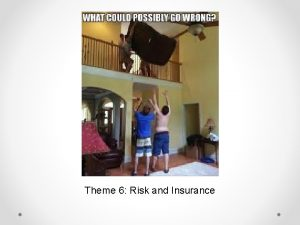 Theme 6 Risk and Insurance Risk Risk is