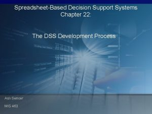 SpreadsheetBased Decision Support Systems Chapter 22 The DSS