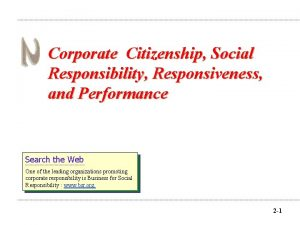 Corporate Citizenship Social Responsibility Responsiveness and Performance Search