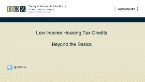 Low Income Housing Tax Credits Beyond the Basics