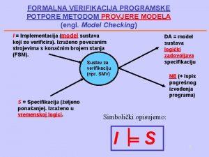 FORMALNA VERIFIKACIJA PROGRAMSKE POTPORE METODOM PROVJERE MODELA engl