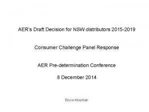 AERs Draft Decision for NSW distributors 2015 2019