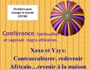 Chrtiens pour changer le monde CPCM Confrence Spiritualits