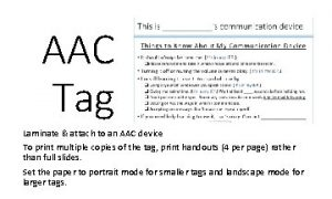 AAC Tag Laminate attach to an AAC device