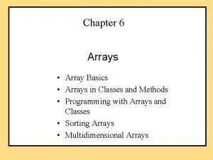 Chapter 6 Arrays Array Basics Arrays in Classes