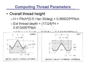 Computing Thread Parameters Overall thread height H Pitch0