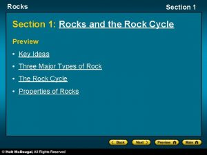 Rocks Section 1 Rocks and the Rock Cycle