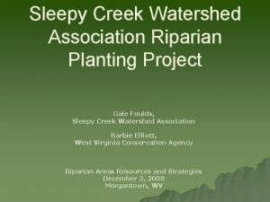 Sleepy Creek Watershed Association Riparian Planting Project Gale